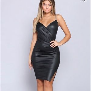 Brand new hit list leather dress